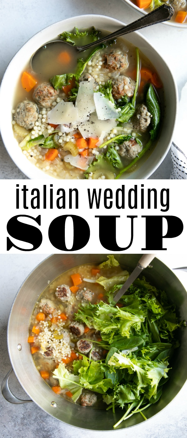 Italian Wedding Soup #weddingsoup #italianweddingsoup #soup #meatballs #pasta #comfortfood #meatballsoup | For this recipe and more visit, https://theforkedspoon.com/italian-wedding-soup/