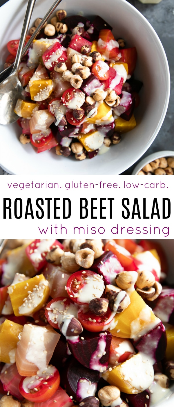 Roasted Beet Salad Recipe with Miso Dressing #beets #roastedbeets #howtoroastbeets #beetsalad #vegetariansalad #glutengree #beetroots #miso #misodressing | For this recipe and more visit, https://theforkedspoon.com/roasted-beet-salad/