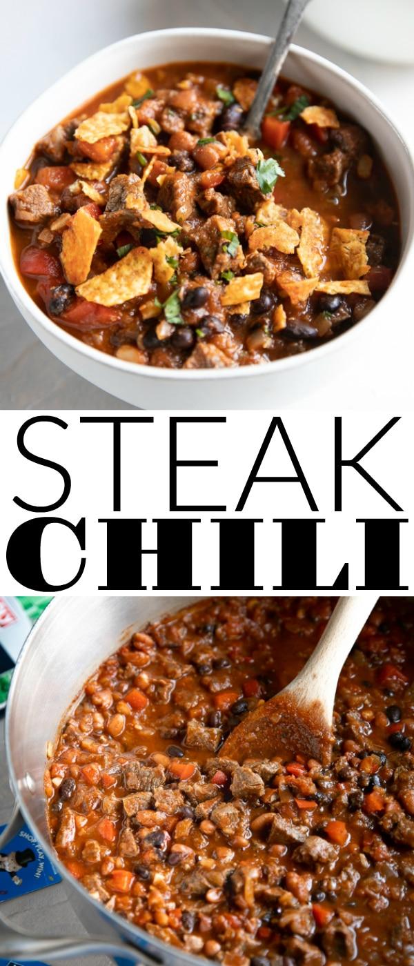 Easy Steak Chili @Safeway #sponsored #chilirecipe #steak #chili #beef #easyrecipe | For this recipe and more visit, https://theforkedspoon.com/steak-chili/