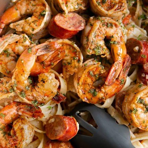 A close up of Cajun Shrimp Pasta