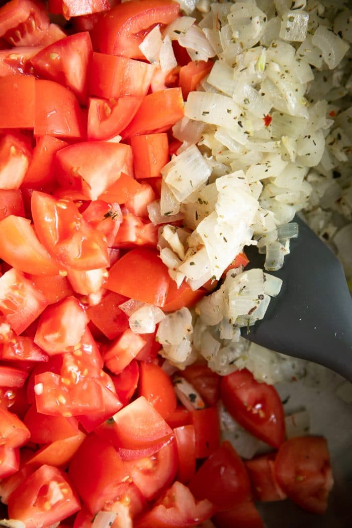 Close-up image of the sauteed onions mixed in Italian seasoning with fresh tomatoes.