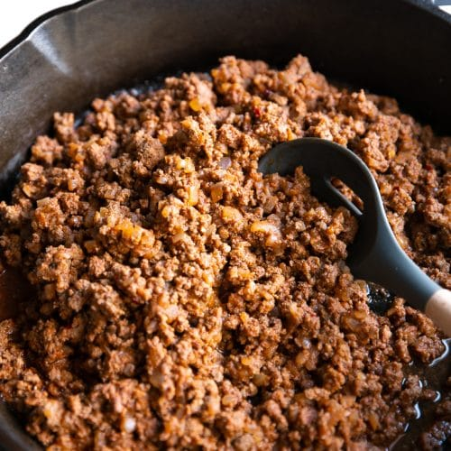 A pan of taco Beef meat