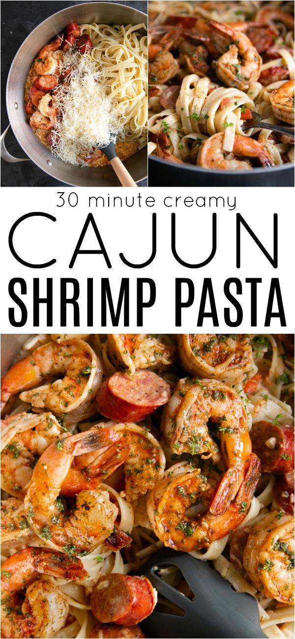 Creamy Cajun Shrimp Pasta Recipe #cajunfood #cajunshrimppasta #cajunfood #andouillesausage #pasta #onepotdinner #30minutemeal | For this recipe and more visit, https://theforkedspoon.com/cajun-shrimp-pasta