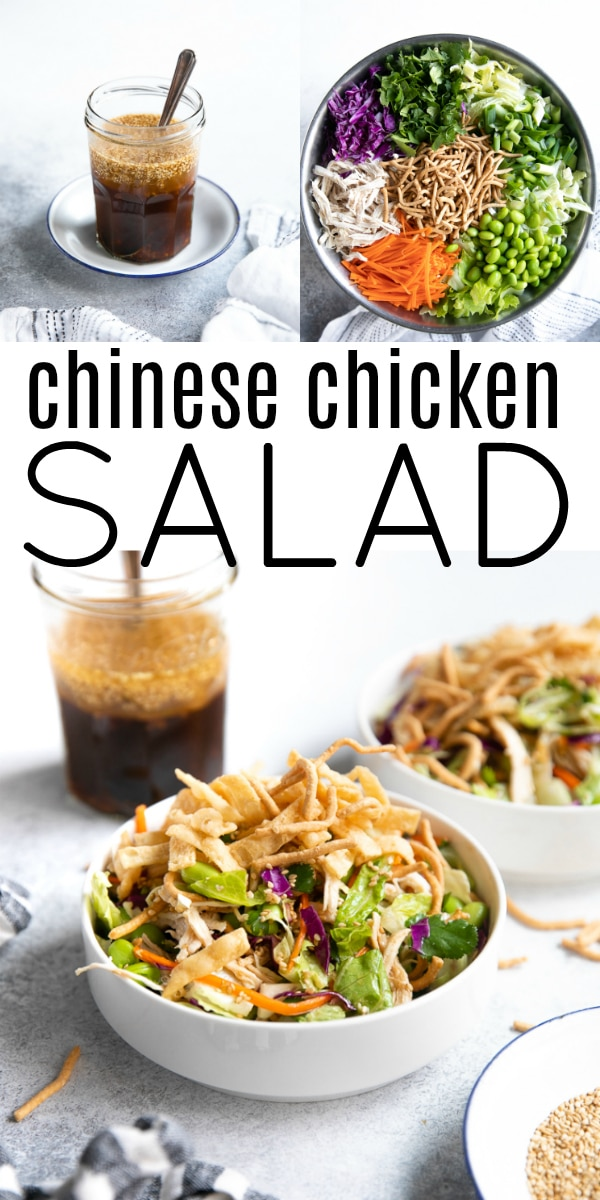 Chinese Chicken Salad Recipe #chinesechickensalad #californiachickensalad #chicken #chickensalad #lowcard #sesamevinaigrette | For this recipe and more visit, https://theforkedspoon.com/easy-chinese-chicken-salad