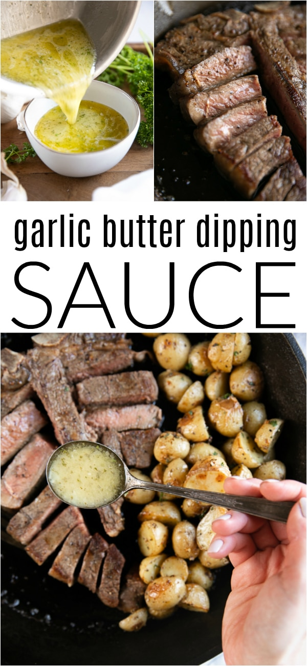 Garlic Butter Sauce with Steak @plugra #ad #butter #garlicbuttersauce #dippingsauce #steak #steakdinner | For this recipe and more visit, https://theforkedspoon.com/garlic-butter-sauce