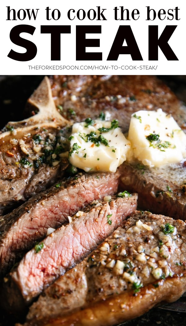 Pinterest Pin Collage Image for How to Cook THE BEST Steak (Butter Basted Pan-Seared Steak)