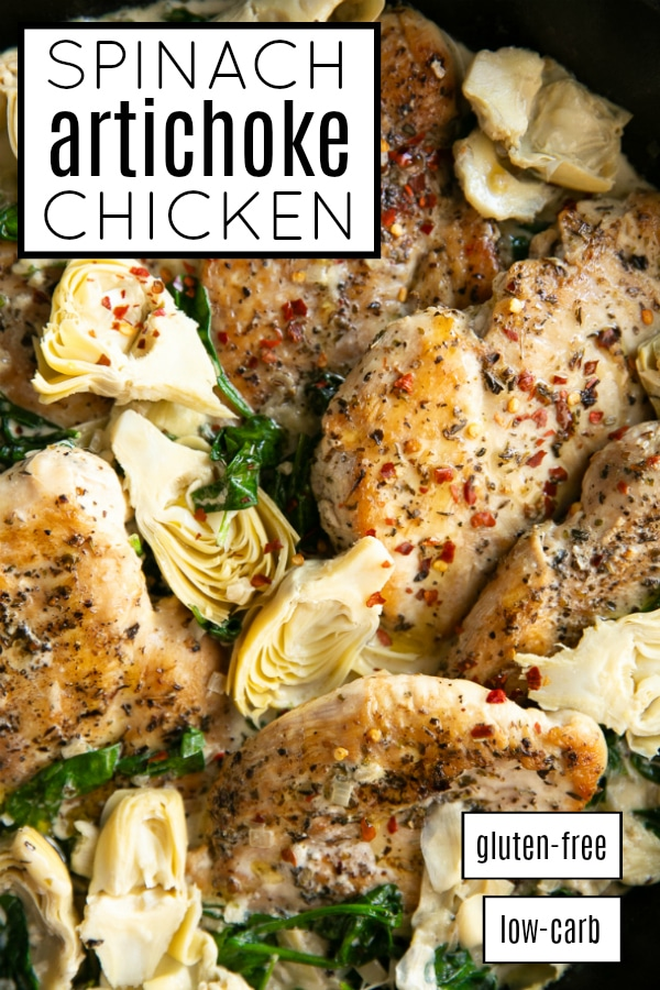 Creamy Spinach Artichoke Chicken Recipe pinterest pin collage image