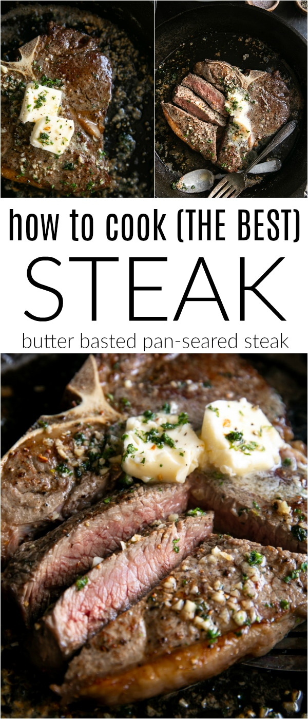 How to Cook THE BEST Steak (Butter Basted Pan-Seared Steak) #steak #steakrecipe #howtocooksteak #butter #castiron #castironsteak #garlicbuttersteak #lowcarb #keto | For this recipe and more visit, https://theforkedspoon.com/how-to-cook-steak