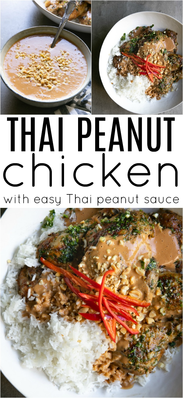 Grilled Thai Peanut Chicken Recipe #thaifood #thaipeanutchicken #thaipeanutsauce #peanutbuttersauce #grilledchicken #peanutbutter #lowcarb | For this recipe and more visit, https://theforkedspoon.com/thai-peanut-chicken