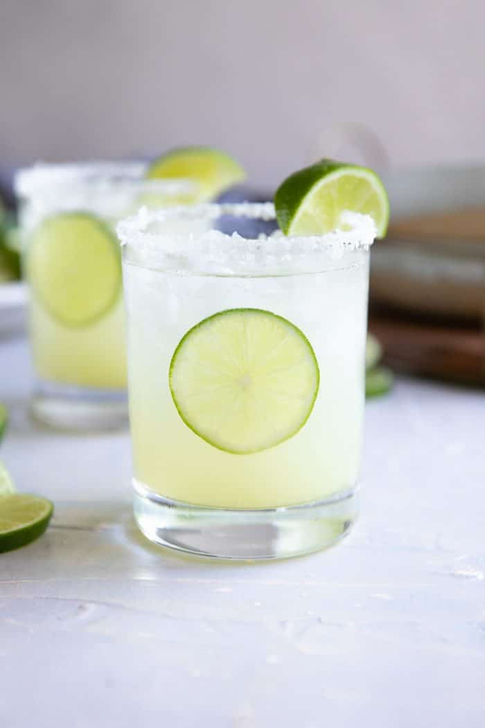 Classic margarita recipe served on the rocks.