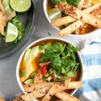 Overhead image of two white bowls filled with chicken enchilada soup and garnished with homemade baked tortilla strips, cilantro, and avocado.
