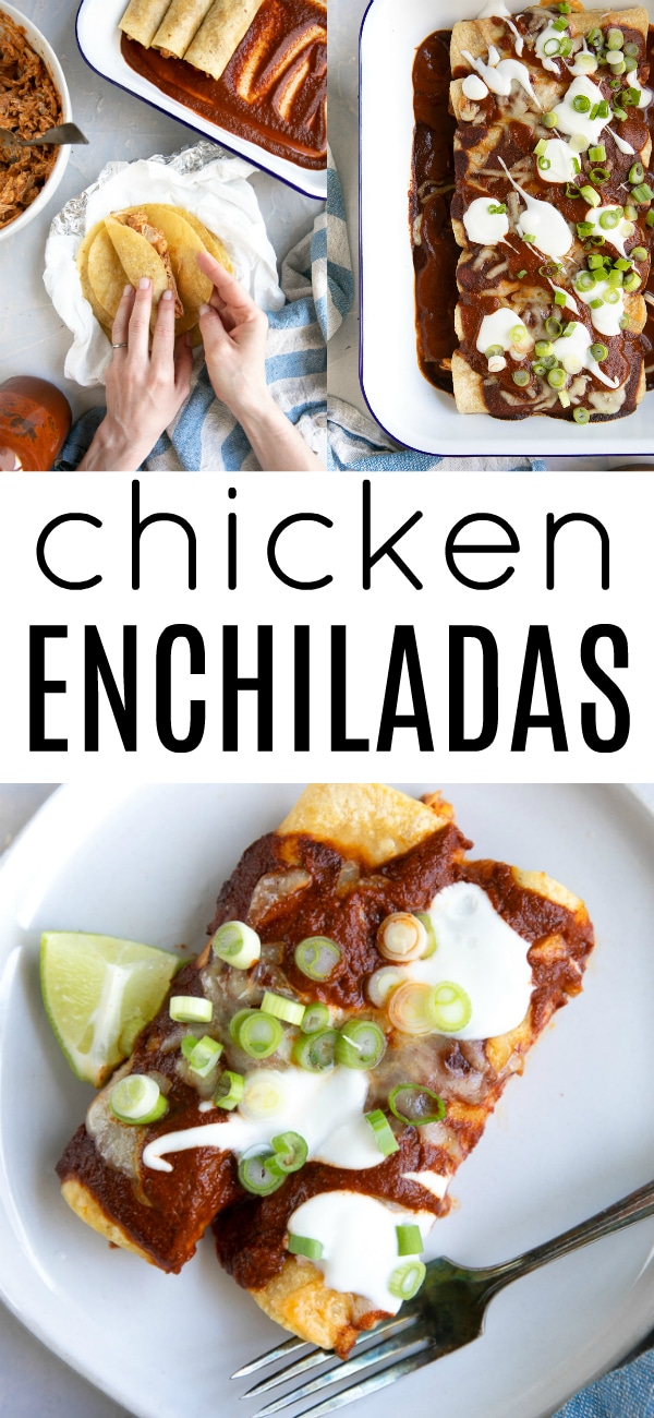 Easy Chicken Enchiladas Recipe #enchiladas #chickenenchiladas #enchiladasauce #chickenrecipe #glutenfree #mexicanfood #cincodemayorecipes #enchiladacasserole | For this recipe and more visit, https://theforkedspoon.com/enchiladas-recipe