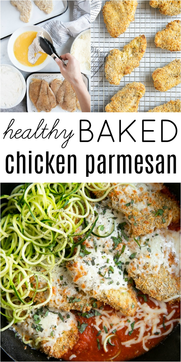 Baked Chicken Parmesan Recipe #chicken #chickendinner #chickenparmesan #bakedchickenparmesan #chickenparm #marinarasauce | For this recipe and more visit, https://theforkedspoon.com/baked-chicken-parmesan/