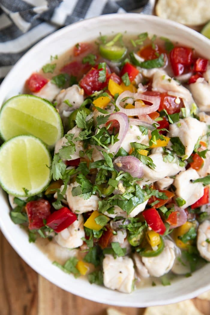Close-up image of fresh fish ceviche.
