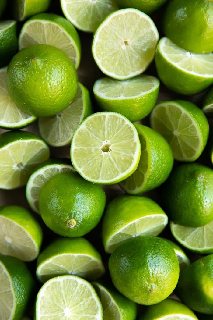 Limes cut in half.