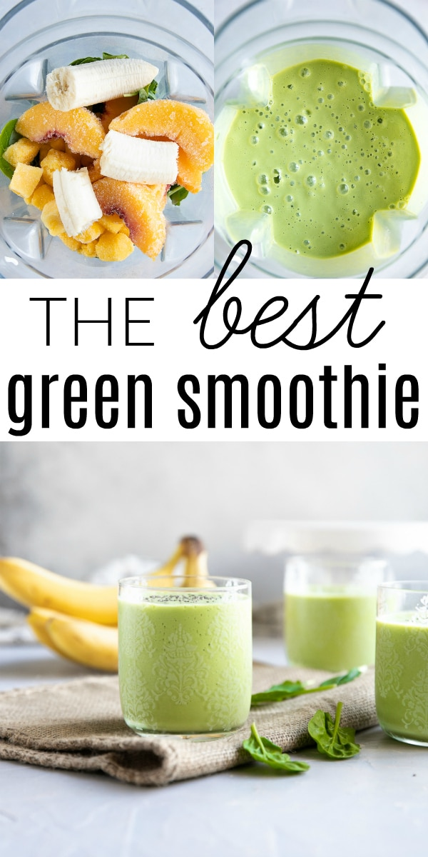 Mango Peach Green Smoothie Recipe #smoothie #greensmoothie #spinachsmoothie #breakfastsmoothie #mango #peach #glutenfree #vegetarian | For this recipe and more visit, https://theforkedspoon.com/green-smoothie-recipe