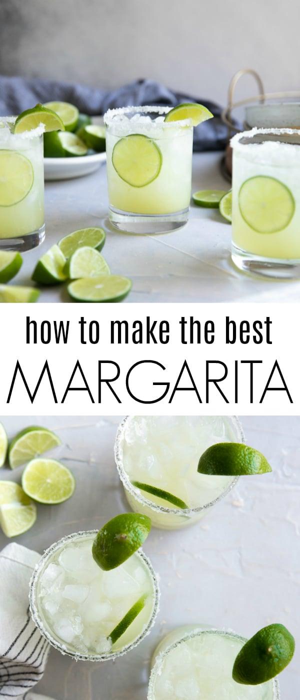 Classic Margarita Recipe (How to Make a Margarita) #margarita #classicmargarita #tequila #cocktailrecipe #tequilacocktail #cincodemayo | For this recipe and more visit, https://theforkedspoon.com/margarita-recipe/