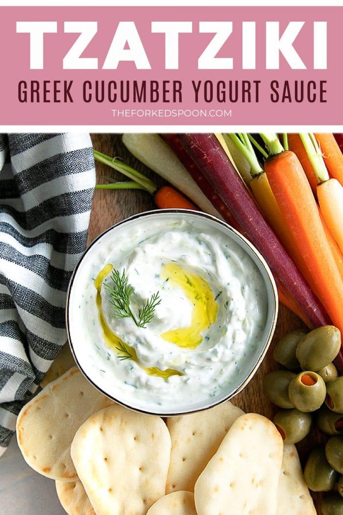 tzatziki sauce recipe Pinterest Pin Image Collage
