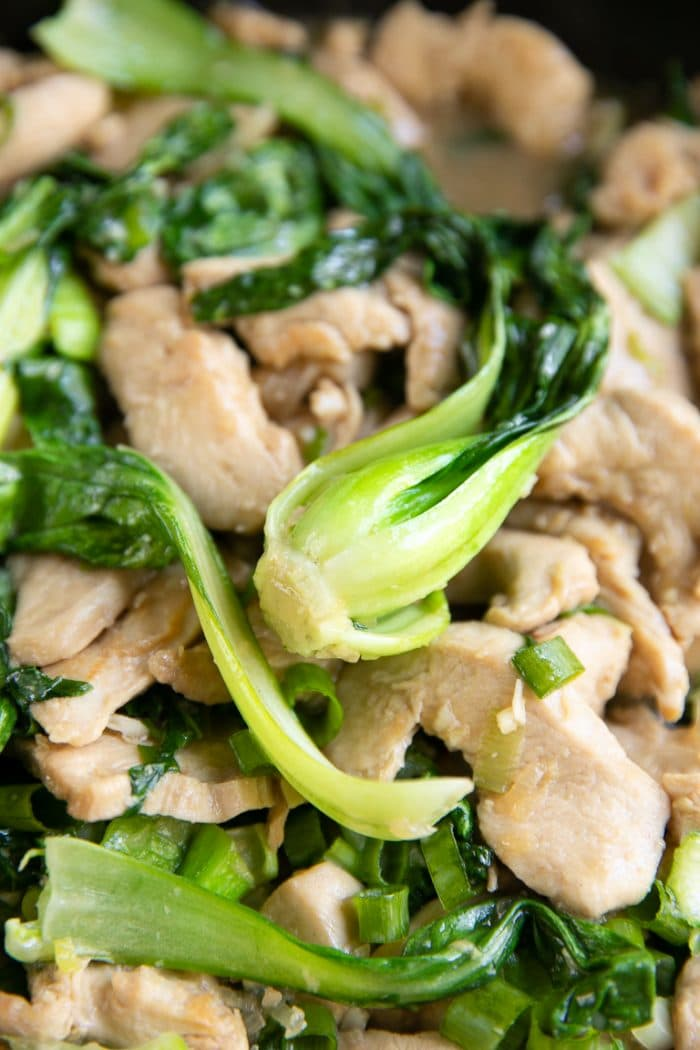 Close up image of chicken stir fry and baby bok choy.