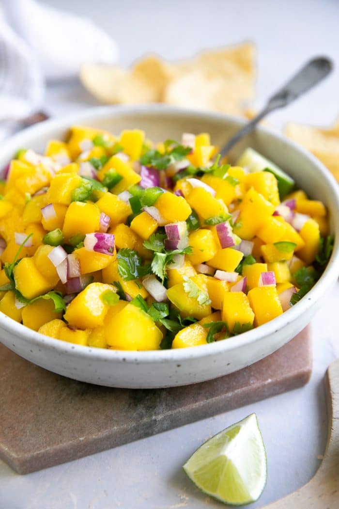 Bowl of fresh mango salsa.