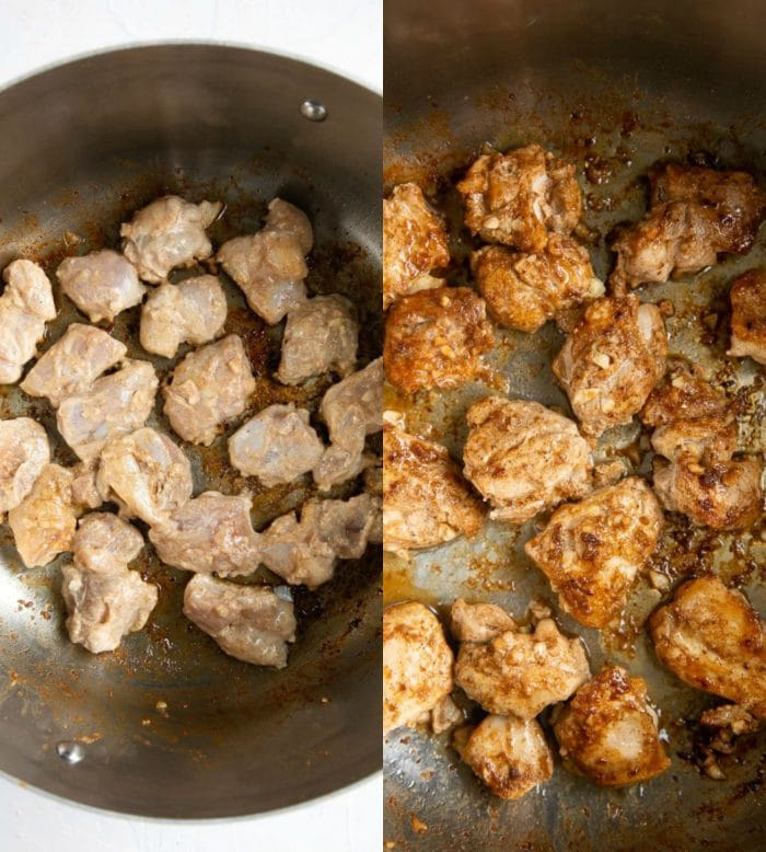 Collage image of Chicken Tikka cooking in a skillet.