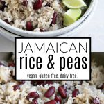 bowl of traditional Jamacian Rice and Peas with limes, Peas are kidney beans.