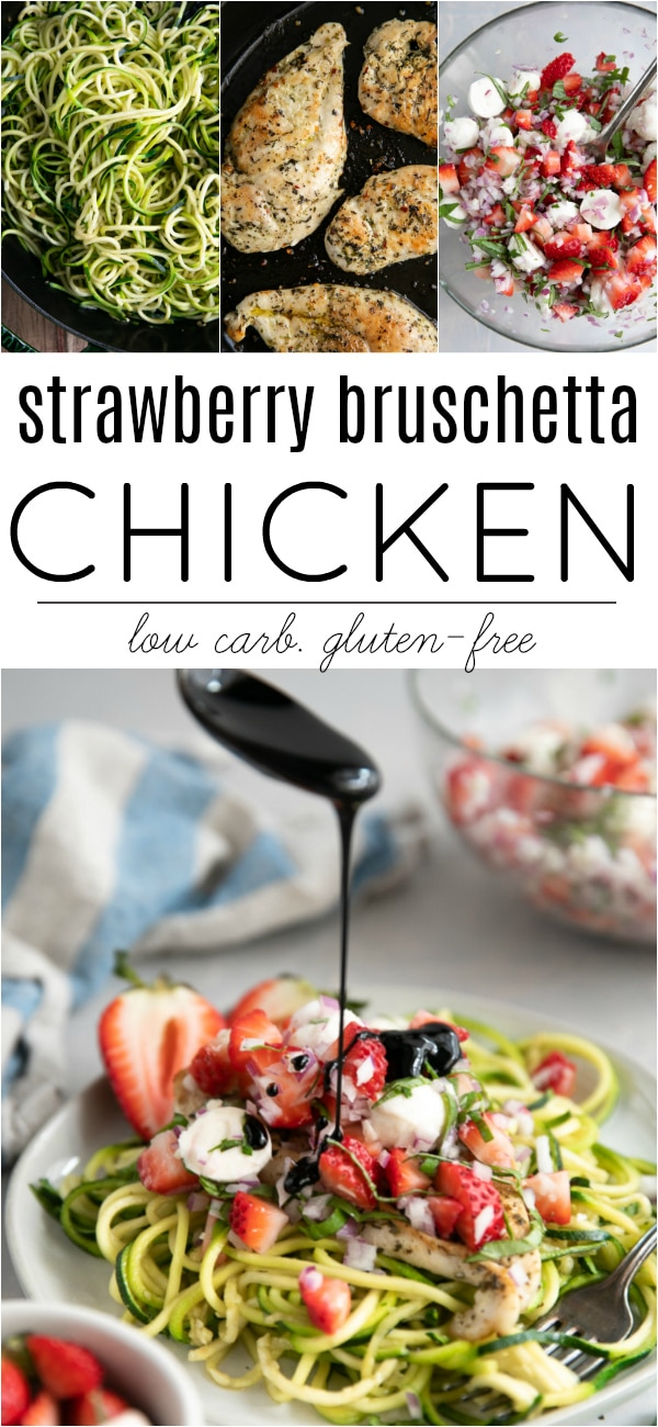 Strawberry Bruschetta Chicken Recipe #ad #strawberries #bruschetta #chickenrecipe #strawberrybruschetta #30minutemeal #healthydinner #glutenfree #lowcarb | For this recipe and more visit, https://theforkedspoon.com/strawberry-bruschetta-chicken