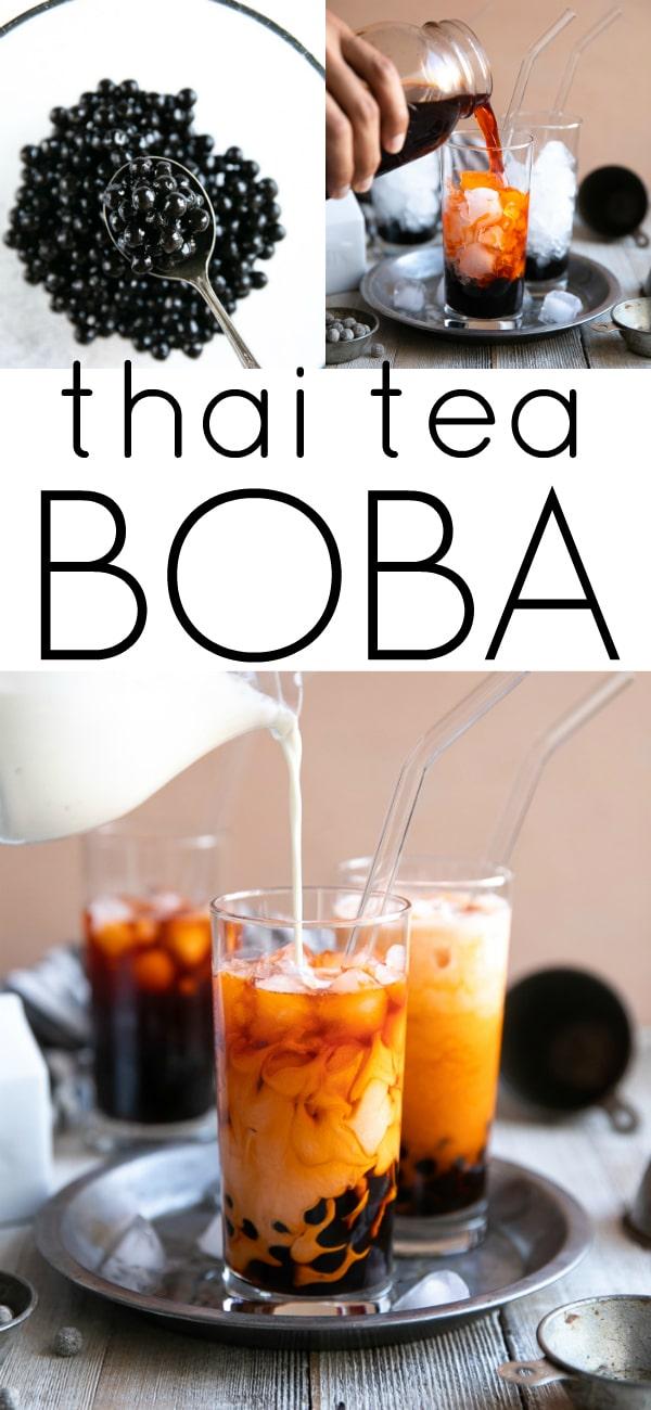 Boba Tea Recipe (How to Make Thai Bubble Tea) #bubbletea #boba #bobatea #thaitea #thaiicedtea #howtomakeboba | For this recipe and more visit, https://theforkedspoon.com/boba-tea