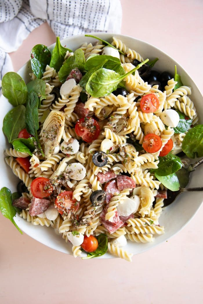 Overhead image of the best Italian pasta salad recipe.