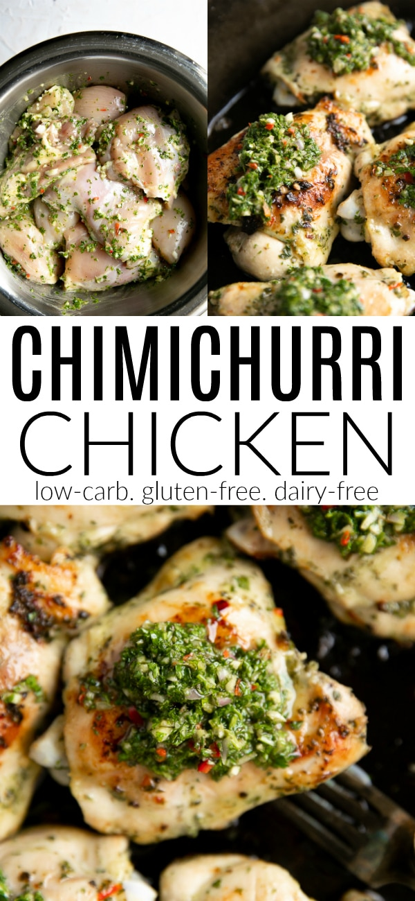 Chimichurri Chicken Recipe #chimichurri #chimichurrichicken #chickenrecipe #chimichurrirecipe #chickenmarinade #lowcarb #glutenfree #dairyfree | For this recipe and more visit, https://theforkedspoon.com/chimichurri-chicken/