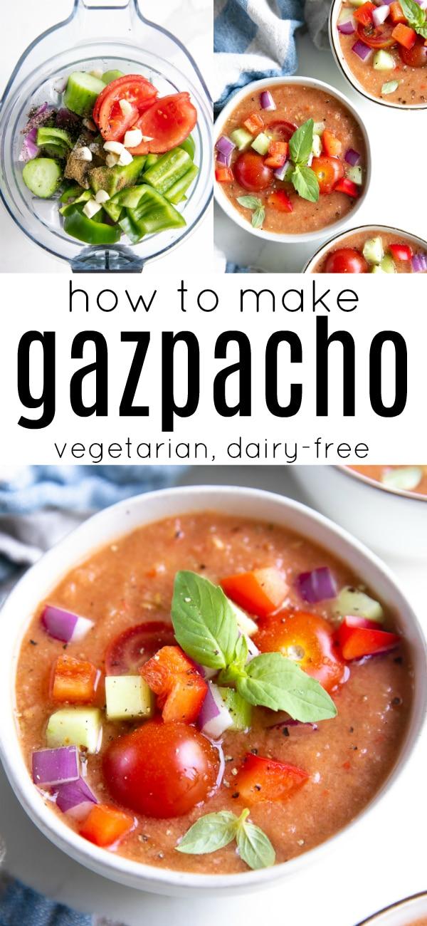 Easy Gazpacho Recipe (Gazpacho Andaluz) #gazpacho #coldtomatosoup #tomatogazpacho #vegetarian #dairyfree | For this recipe and more visit, https://theforkedspoon.com/gazpacho-recipe