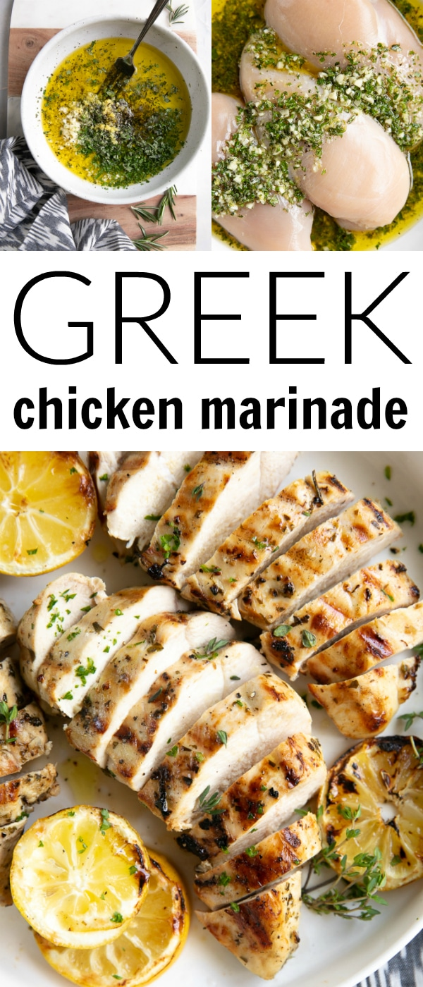 The Best Greek Chicken Marinade #greekchickenmarinade #chickenmarinade #chicken #marinade #lemon #grilledchicken | For this recipe and more visit, https://theforkedspoon.com/greek-chicken-marinade