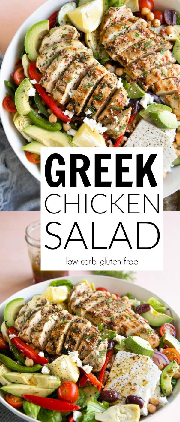 Grilled Greek Chicken Salad Recipe #greekchickensalad #grilledchicken #greekchickenmarinade #greekmarinade #greeksalad #artichokes #chickenrecipe #greekvinaigrette #glutenfree | For this recipe and more visit, https://theforkedspoon.com/greek-chicken-salad/
