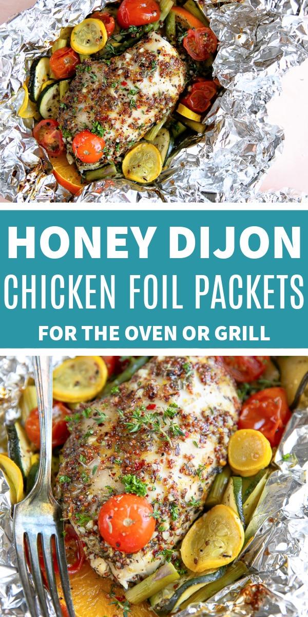 honey dijon chicken foil packets Pinterest Pin Image Collage