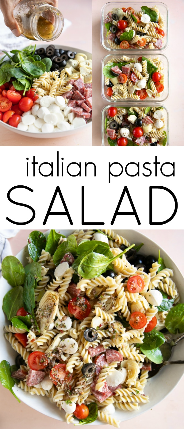 Italian Pasta Salad Recipe #pastasalad #italianpastasalad #salami #coldpastasalad #pastasaladdressing #easypastarecipe #italianpastasaladrecipe | For this recipe and more visit, https://theforkedspoon.com/italian-pasta-salad-recipe/