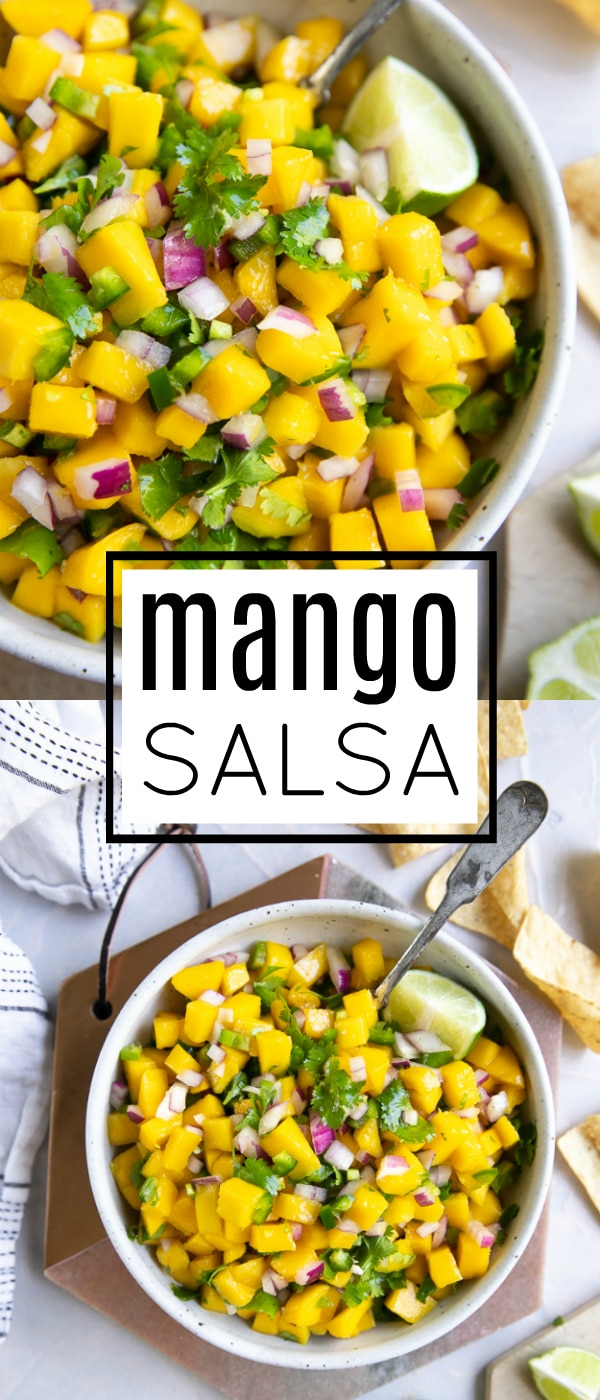 5-Ingredient Mango Salsa Recipe #mangosalsa #mango #salsa #salsarecipe #summerrecipe #mangorecipe #fruitsalsa | For this recipe and more visit, https://theforkedspoon.com/mango-salsa