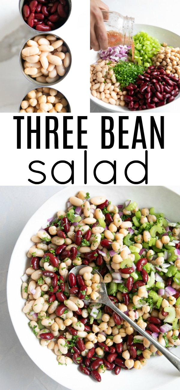 Easy Three Bean Salad #vegetarian #vegan #glutenfree #dairyfree #beansalad #threebeansalad #beansalad #potluckrecipe #summerrecipe | For this recipe and more visit, https://theforkedspoon.com/three-bean-salad/