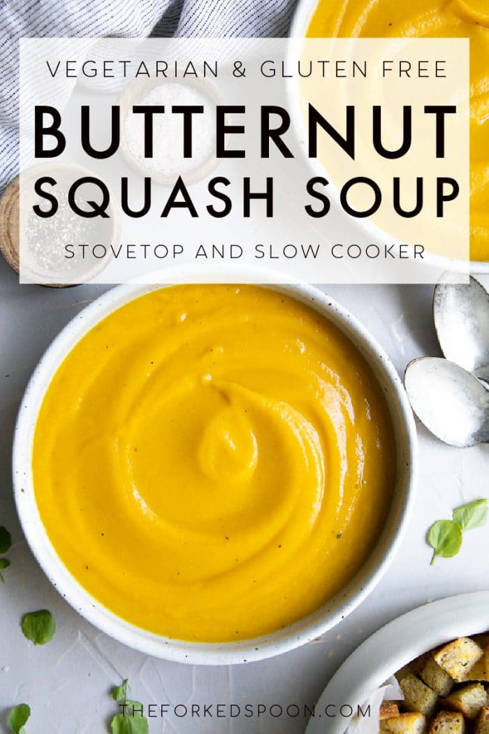 Butternut Squash Soup Recipe (Stovetop and Slow Cooker) Pinterest Pin Collage Image