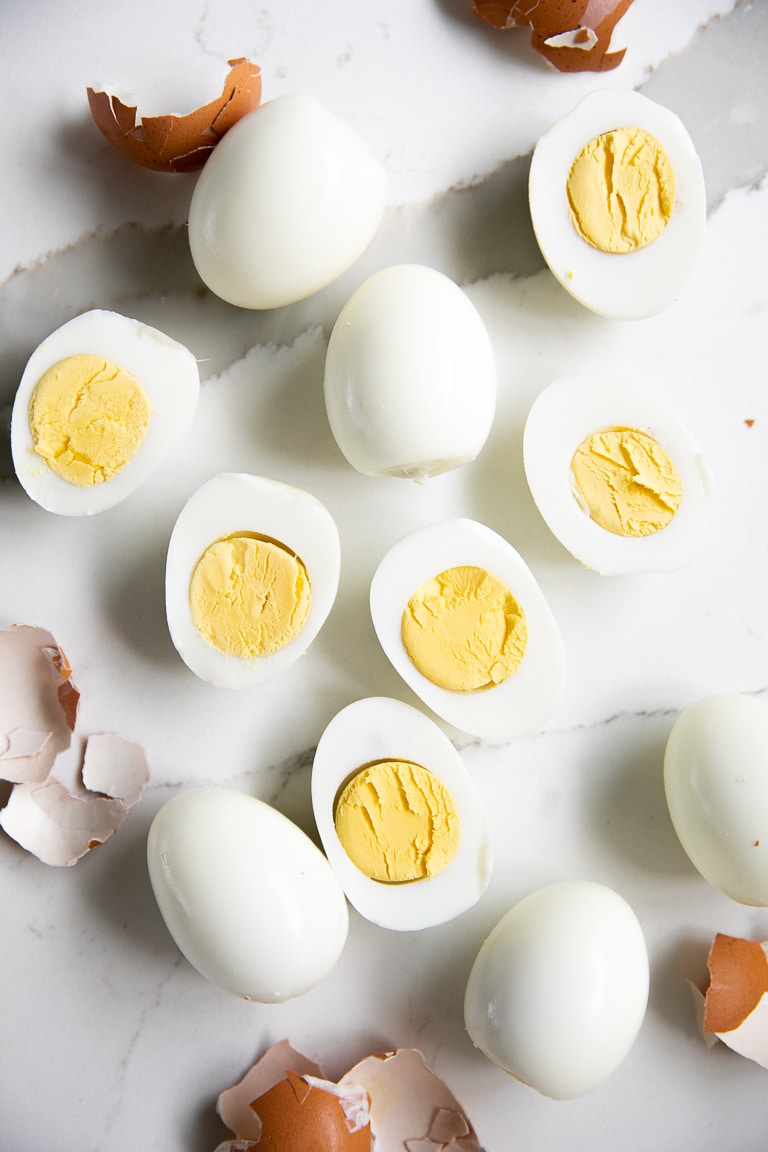 Hard boiled eggs peeled and halved.