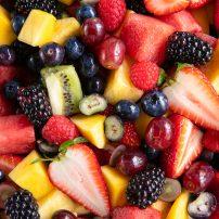Close up image of a large fruit salad.