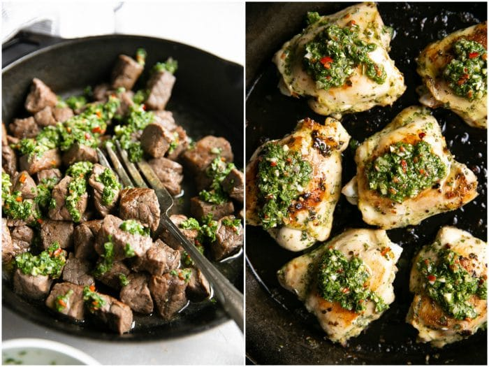 SIde-by-side images of how to use chimichurri sauce, one with steak bites and one with chicken