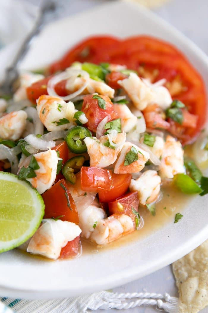 Small white plate filled with fresh shrimp and tomato ceviche.