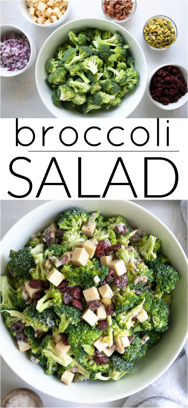Easy Broccoli Salad Recipe with Bacon #broccolisalad #broccolibaconsalad #glutensalad #bacon #smokedgoudacheese #potluckrecipe #potlucksalad