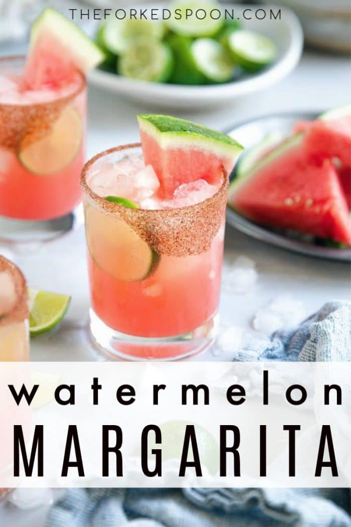 watermelon margarita recipe pinterest pin image