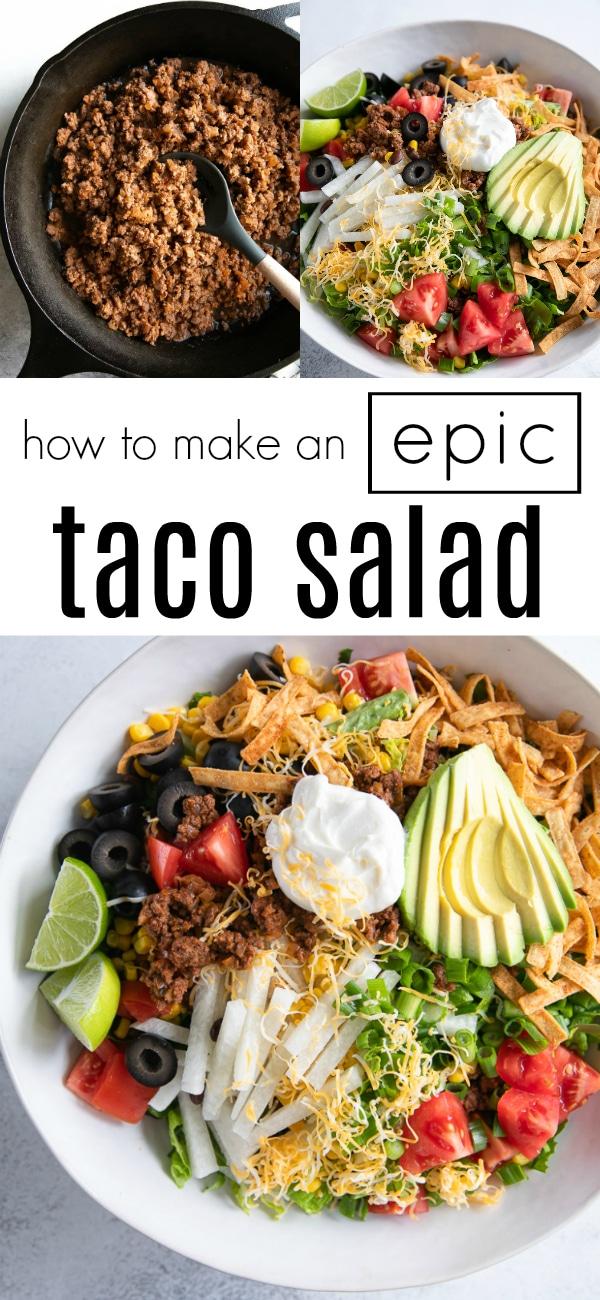 Taco Salad Recipe #tacosalad #tacorecipe #groundbeefrecipe #homemadetacoseasoning #saladrecipe #tacos #groundbeef