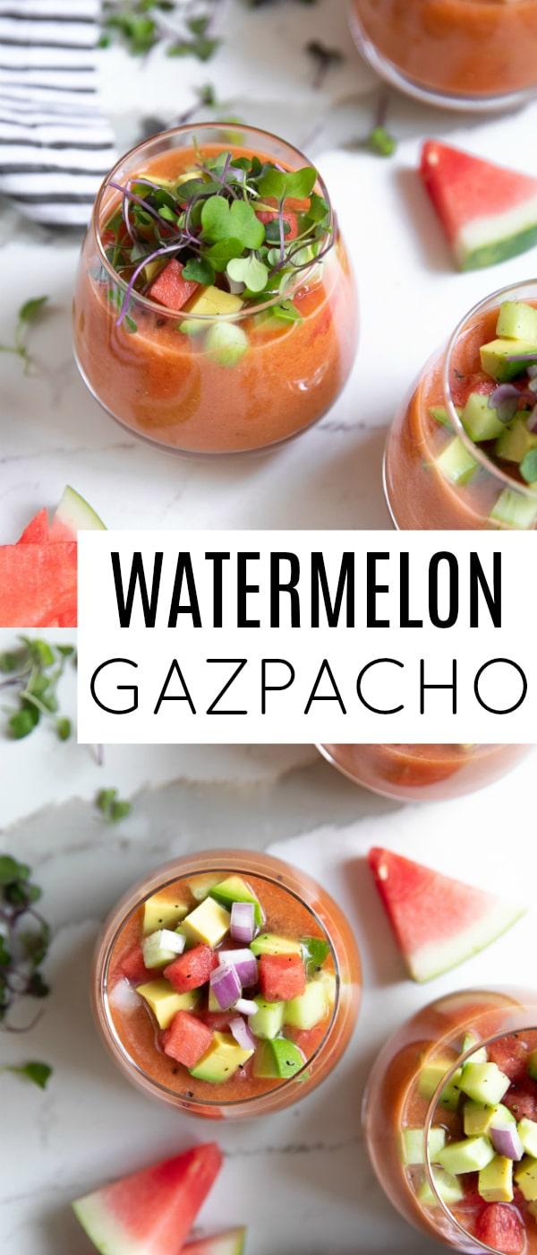 Watermelon Gazpacho Recipe #watermelon #gazpacho #watermelongazpacho #vegetarian #healthyrecipe | For this recipe and more visit, https://theforkedspoon.com/watermelon-gazpacho-recipe/