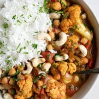 Instant Pot Tikka Masala made with cauliflower, chickpeas, tomatoes, and cashews.
