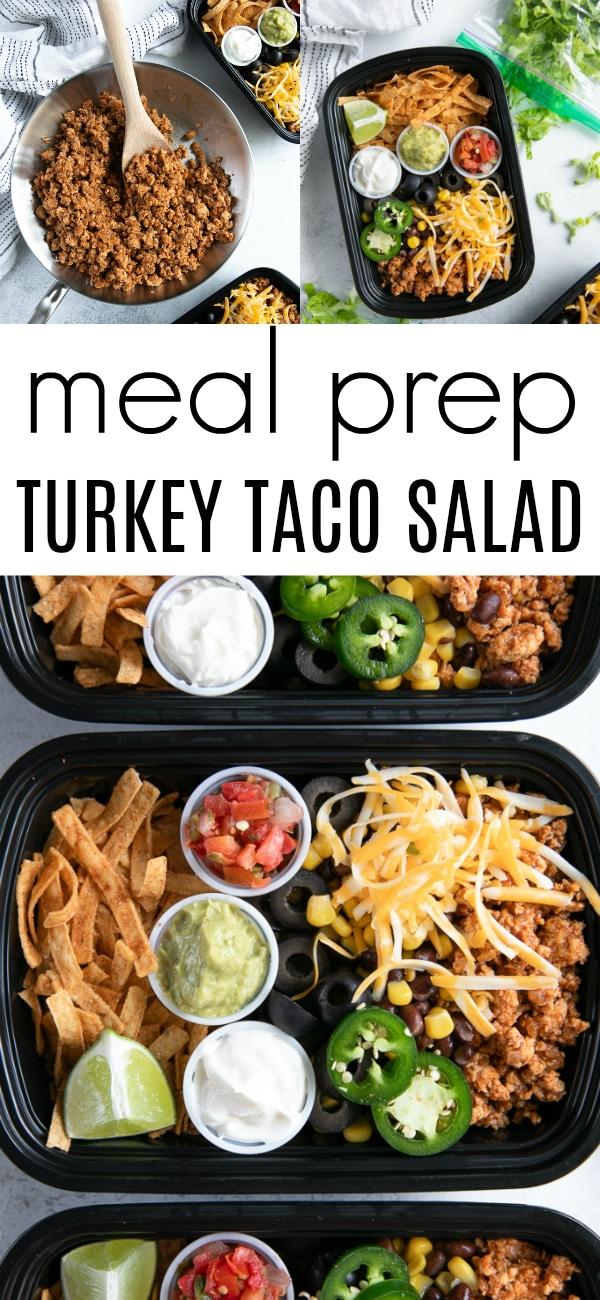 Taco Salad Meal Prep (Taco Bowls) #tacosalad #tacosaladmealprep #tacobowl #groundturkeytacos #groundturkey | For this recipe and more visit, https://theforkedspoon.com/meal-prep-taco-bowls/