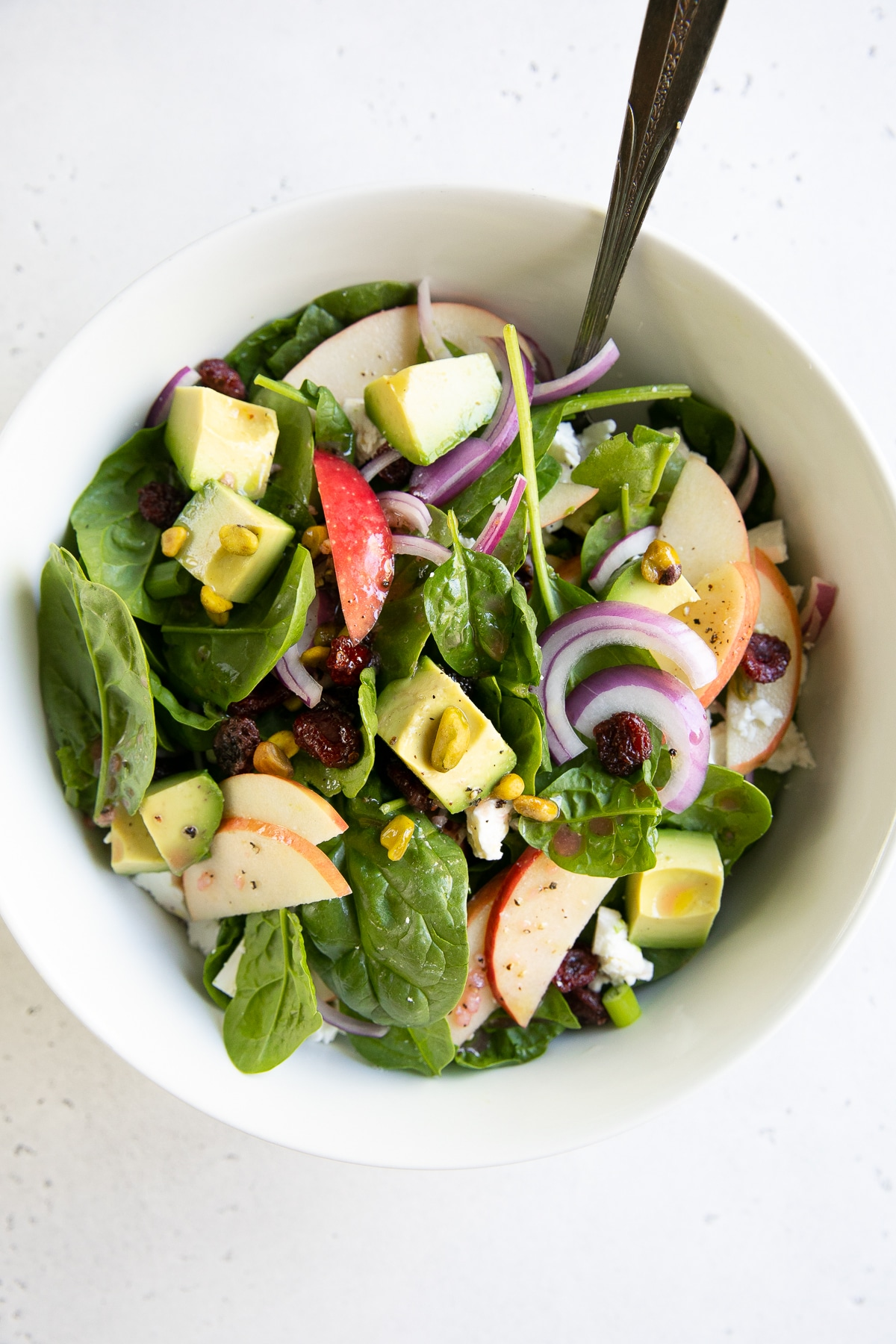 Easy Spinach Salad Recipe With Apples The Forked Spoon