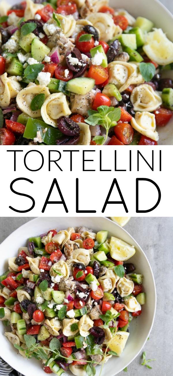 Greek Tortellini Salad with Chicken #tortellini #pastasalad #cheesetortellini #saladrecipe #coldsalad #potluck #italiandressing